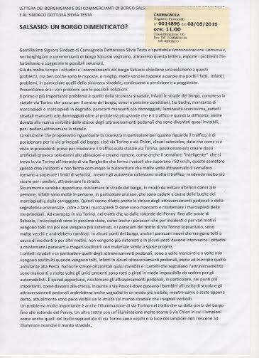 Borgo Salsasio ha scritto al Comune