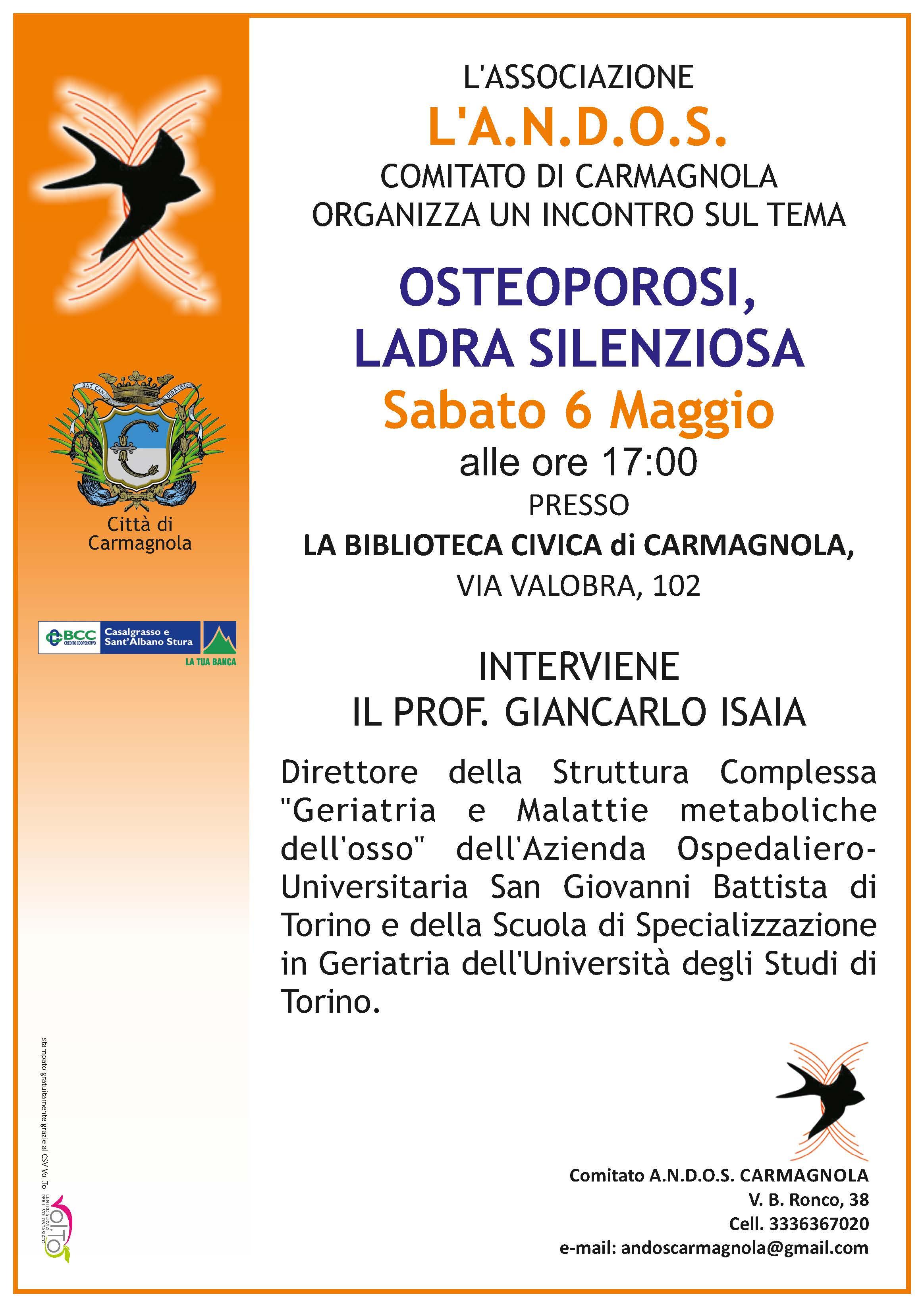 Osteoporosi e educazione alimentare, due incontri con l'Andos