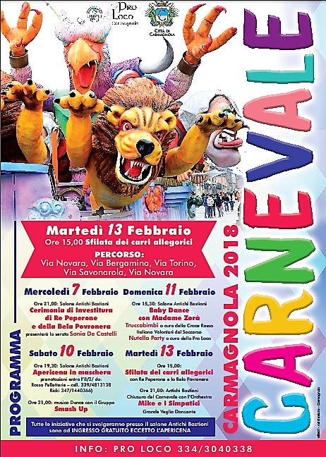 Carnevale a Carmagnola: tanti eventi in compagnia di Re Peperone