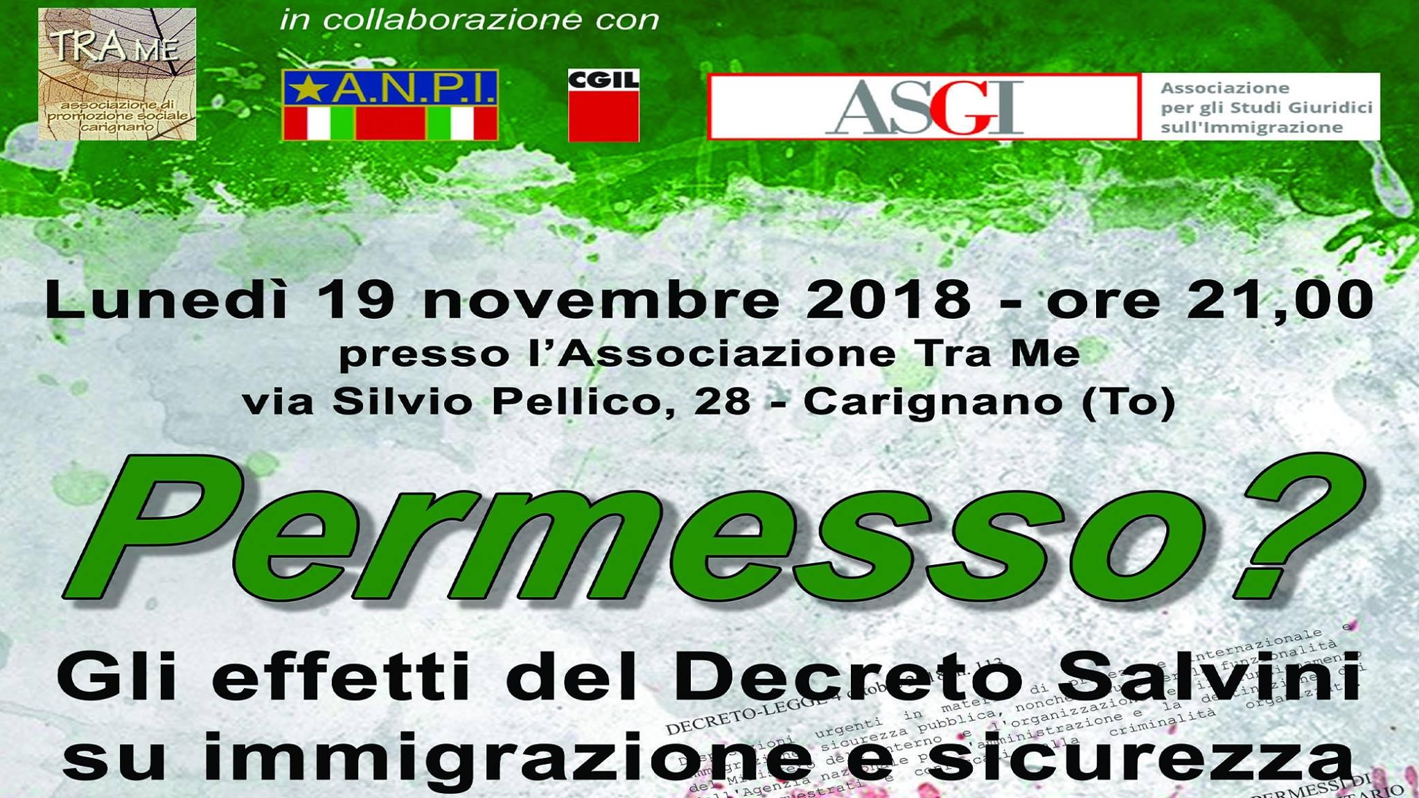 Con Tra Me, a Carignano si parla del decreto immigrazione e sicurezza