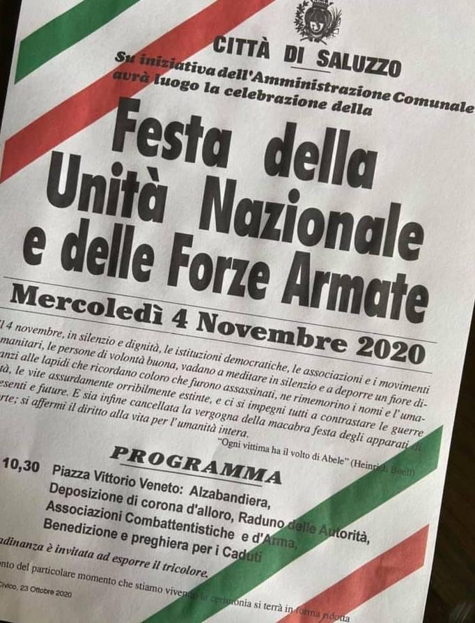 Saluzzo, un 4 novembre senza pubblico: ricordare unità nazionale