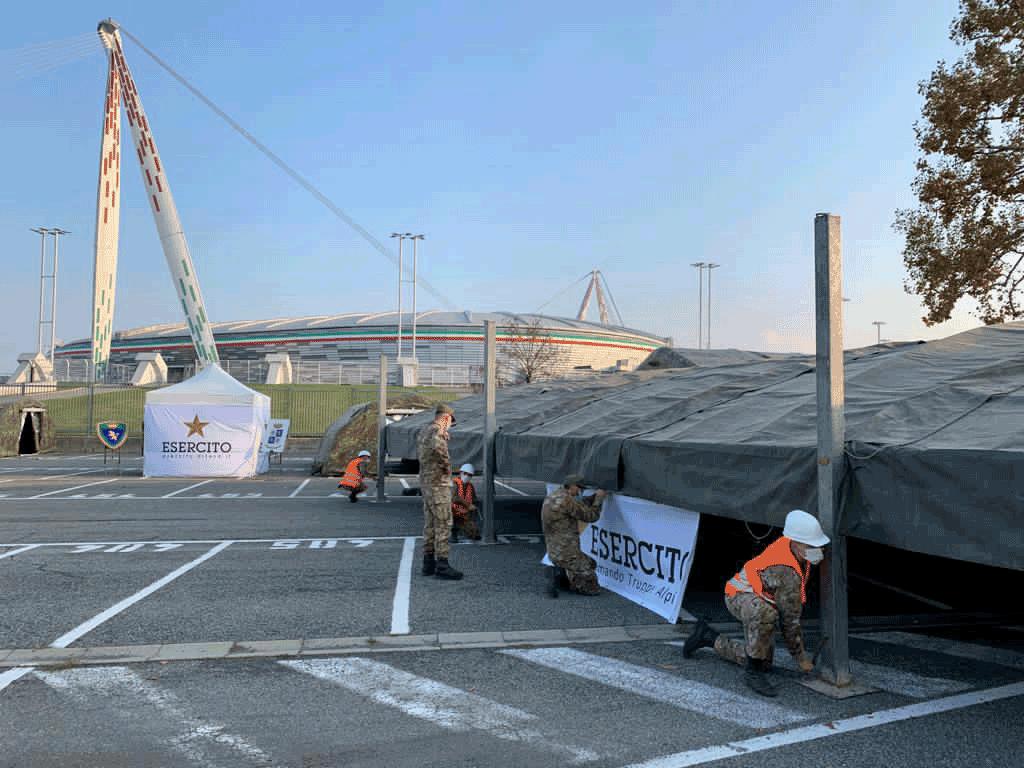 Allestita dalla Brigata Alpina Taurinense struttura hotspot all'Allianz Stadium